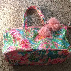 Lilly Pulitzer Canvas Beach Bag with Poms